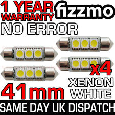 4x 41mm 264 C5w Sv8.5 6000k Luminoso Bianco 3 Led Smd Festone Lampadina Privo Di