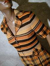 CHIC VINTAGE ROBE 60s VTG DRESS MOD TWIGGY TARTAN STRIPE 60er KLEID ABITO (38)