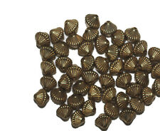 9mm Mushroom Bicone Goldtone Old Gold Metalized Metallic Beads