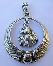 Sterling Silver (925)  Egyptian Anubis  Scarab Wings  Pendant     !!    New  !!
