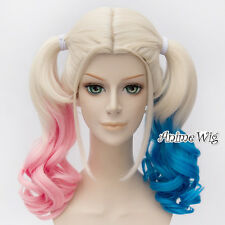 For Harley Quinn Blue Pink Mixed Blonde Ombre Anime Cosplay Wig + 2 Ponytails