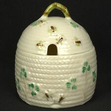 Belleek Shamrock Honey Pot & Lid Herringbone EUC