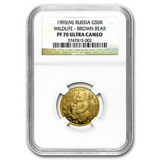 1993 Russia 1/4 oz Gold 50 Roubles Brown Bear PF-70 NGC - SKU #93171