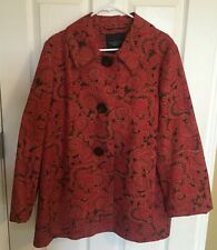 Talbots Womens Coat Jacket Large L Red Brown Autumn Day Paisley Stretch