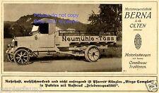 Motorwagen Berna Olten Schweiz Reklame von 1919 Neumühle Töss LKW Werbung ad