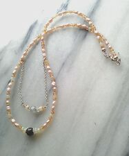 Pearls Ethiopian Fire Opal Labradorite Beaded Sterling SILVER Necklace Sundance