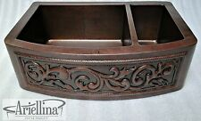 "36"" Ariellina 3D Farmhouse 14 Gauge Copper Kitchen Sink Life Warranty New AC1928"