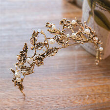 Vintage Wedding Bridal Black Gold Headband Crown Tiara Hair Accessories Jewelry