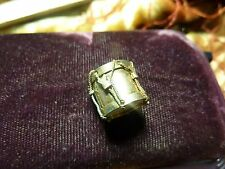 VICTORIAN ANTIQUE  CHARM FOB  DRUM WITH MOP sweet gold filled