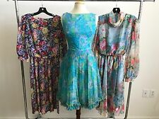 VINTAGE LOT OF 3 1950'S - 70'S COTTON, CHIFFON DRESSES