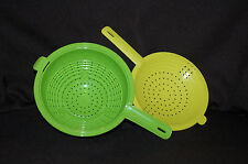 TUPPERWARE 2 pc 2 Qt CLASSIC DOUBLE COLANDER Green and Yellow fit together