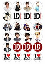 24 One Direction 1D Band & Logo Wafer Rice Paper Toppers for Cupcake Fairy Cake