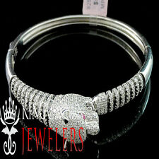 Mens Premium Sterling Silver AAA Grade Simulated Diamond Panther Bangle Bracelet
