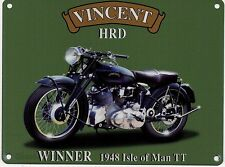 Vincent HRD Motorcycle, Classic/Vintage Motorbike, Small Metal/Tin Sign, Picture