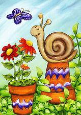 """Spring Snail House Flag Butterflies Wildflowers Flowerpots 28""""x40"""""""