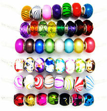 100PCS mix 6 kinds styles Acryl bead silver  core Fit European Bracelet YM03