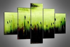 """LARGE GREEN ABSTRACT CANVAS WALL PICTURE SPLIT 5 PANELS FLASH ART 40"""" 28"""" 0093"""