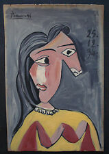 PABLO PICASSO   OIL PAINTING ON  ORIGINAL PAPER OF THE 30s.