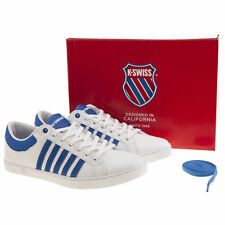 K SWISS ADCOURT 72 MENS WHITE BLUE LEATHER TRAINERS SIZE 6