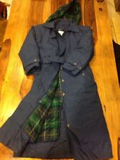 LADIES SMALL VINTAGE CABELAS TRENCH LONG COAT BLUE FLANNEL LINED GOOSE DOWN