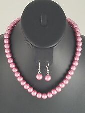 Silver and Light Purple Faux Pearl FASHION Necklace Set