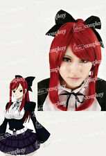 Anime Fairy Tail Erza Scarlet Red Cosplay Halloween Party Long Wig Ponytails