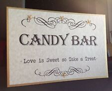 Personalised Handmade  WEDDING  Vintage CANDY BAR SIGN - SWEET BUFFET TABLE