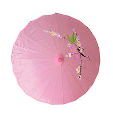 Vintage Oriental Folding Pink Wedding Party Nylon Bamboo Umbrella Parasol 15""