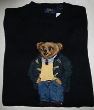 new Polo Ralph Lauren Preppy Teddy Bear intarsia-knit sweater navy, mens, S, NWT