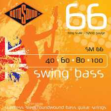 ROTOSOUND SM66 SWING STAINLESS STEEL BASS STRINGS HYBRID GAUGE 4's, 40-100