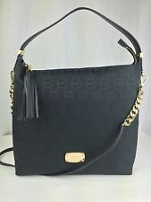 NWT $278 MICHAEL KORS Bedford Large TZ Black Leather Signature Jacquard Bag Tote