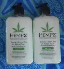 NEW LOT 2 HEMPZ EXOTIC GREEN TEA & ASIAN PEAR  MOISTURIZER 17.OZ  NEW BOTTLES