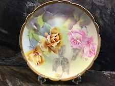 """Vintage Coronet LIMOGES HandPainted Pink & Yellow Rose Porcelain Plate 8"""" Signed"""