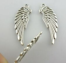 8pcs Tibetan Silver Angel Wings Charms Crafts Pendants Jewelry 11x33mm