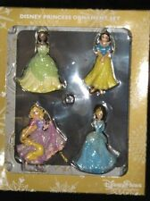 Disney Parks  4 Princess Ornament Set  Cinderella, Snow, Tiana & Rapunzel  NEW