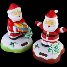 Christmas Solar Santa Nodding Xmas Decoration Novelty Gift Funny Set Of Two