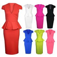 Women's Cap Sleeve V Neck Peplum Bodycon Knee Length Ladies Dress