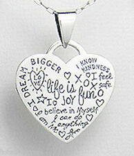 "1.26"" Solid Sterling Silver Inspirational SWEET Happy Life Heart Pendant 4g 32mm"