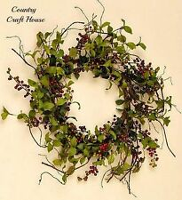 New Primitive Country Cottage HERB LEAF BERRY WREATH Burgundy Berries Swag Vine