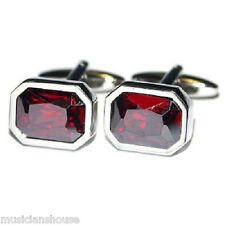 CUFFLINKS RED CRYSTAL MENS LADIES Present GIFT BOXED Quality Suit Cruise Wedding