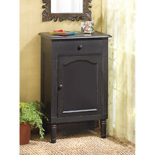 Black Aged Look Cabinet Night Stand Side End Table Office Bath Storage CLEARANCE