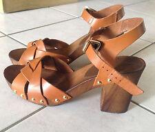 Sandales cuir ANDRE femme couleur cognac taille 39 semelle synthétique
