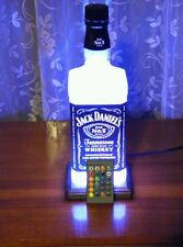 Jack Daniels Whisky Bottle Lamp Remote LED Man Cave Oak Base Bar Lamp