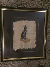 Egyptian Cat Painted On Mummy Wrapping Parchment