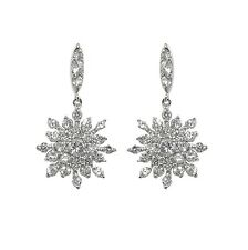 PAVE SNOWFLAKE DANGLE CLEAR CUBIC ZIRCONIA DANGLE EARRINGS 19MM