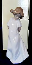 NAO BY LLADRO #1109 SO SHY BRAND NEW IN BOX LITTLE GIRL WHITE DRESS FREE SHIPING