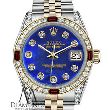 Rolex Ladies 26mm Datejust 2Tone Blue Color Treated MOP Dial w/ Ruby & Diamond