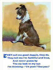 BORDER COLLIE PUPPY AND CHARMING POEM DOG GREETINGS NOTE CARD
