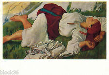 1965 Russian card Repro of painting by Z.Serebryakova SLEEPING PEASANT WOMAN