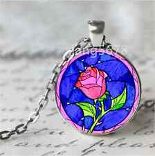 Vintage Rose Cabochon Glass Tibet Silver Chain Pendant Necklace